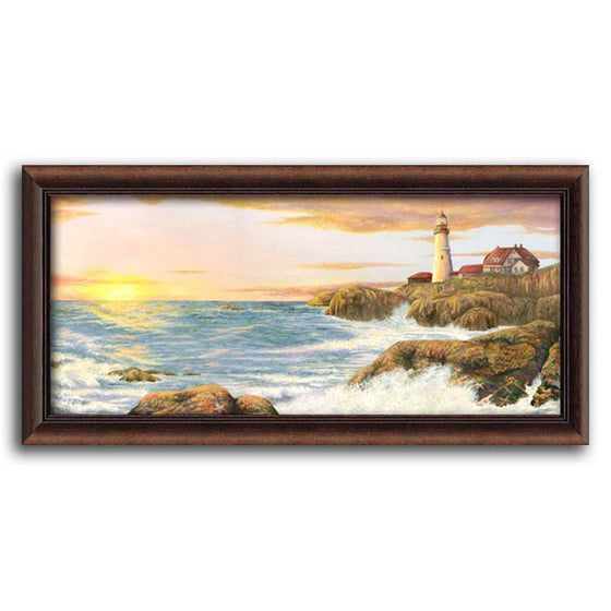 Personalized seascape print of waves crashing against rocks with the sunrise and a lighthouse - Personal-Prints