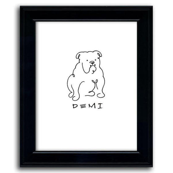 Picasso style personalized dog line drawing of a bulldog with a white background and black frame - Personal-Prints