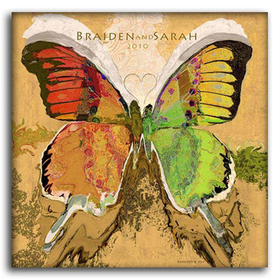 Personalized art painting of a butterfly with red, yellow, green, and orange wings - Personal-Prints