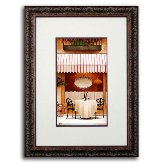 Personalized art for the home of a street cafe with striped awning, table, and chairs - Personal-Prints