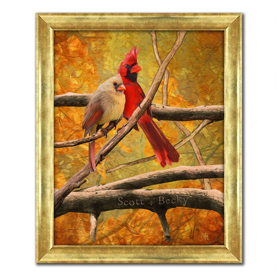 framed canvas rustic art decor of cardinal couple with gold frame