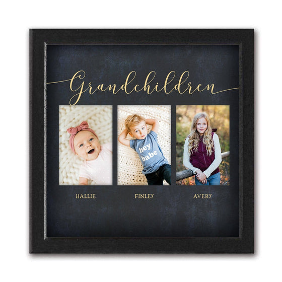 Framed photo to canvas art - Grandchildren photo wall display