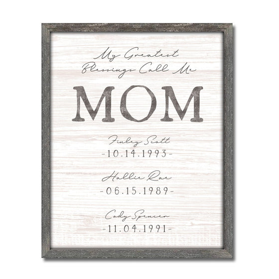 Greatest Blessings Call Me MOM personalized art sign