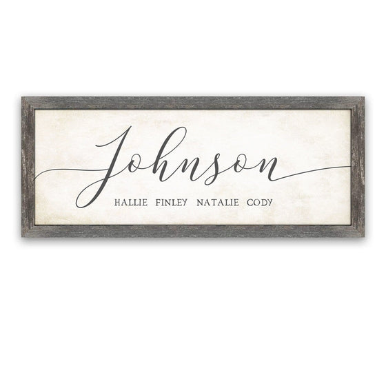 Personalized Farmhouse Chic Last Name Art Framed Canvas in Barnwood Frame