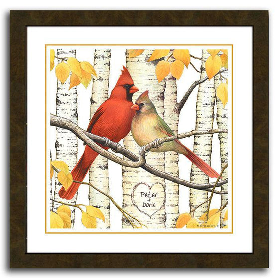 Personalized aspen tree art with two cardinals resting on a branch - Personal-Prints
