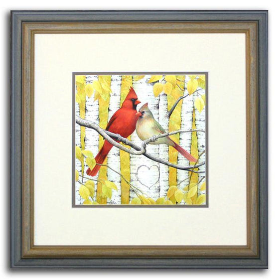 Personalized bird art print of two cardinals cuddling in an aspen tree - Personal-Prints