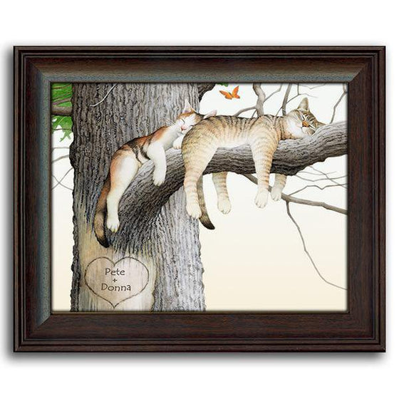 Personalized nature wall decor of two cats taking a nap on a tree branch - Personal-Prints