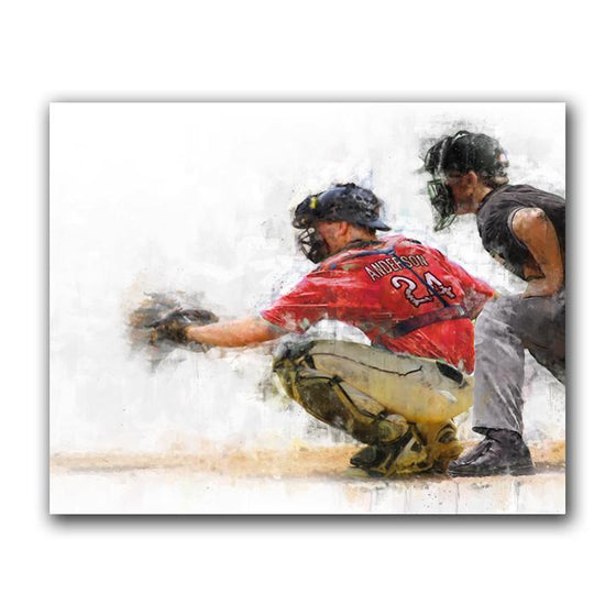 Baseball catcher personalized sports artwork from Personal-Prints