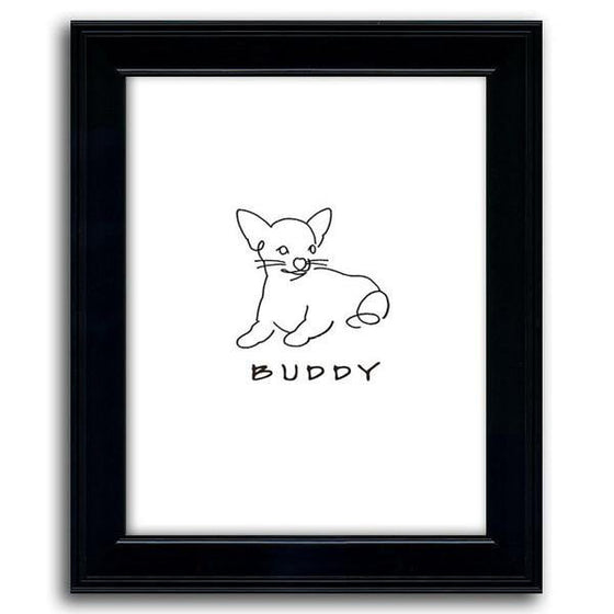 Dog line drawing of a chihuahua with the pet's name below the drawing in a black frame - Personal-Prints