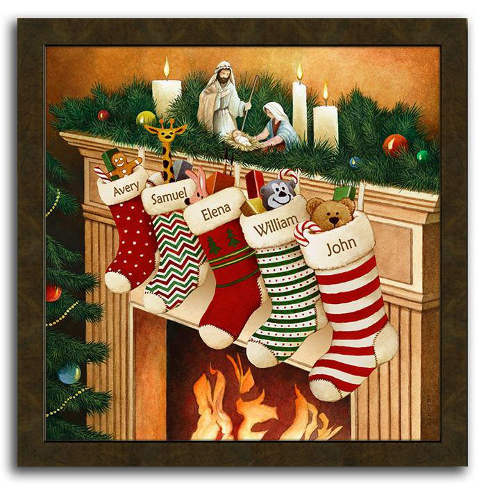 christmas framed art featuring stockings hanging from the mantle over a fire personal prints