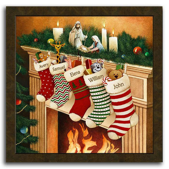 Christmas framed art featuring stockings hanging from the mantle over a fire - Personal-Prints