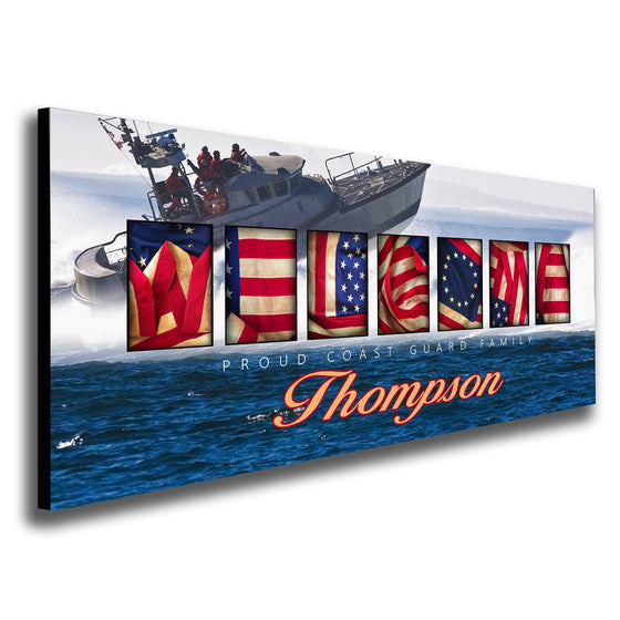 "Coast Guard art using the American flag to spell the word ""Welcome"" and a ship in the ocean - Personal-Prints"