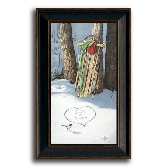 Personalized framed art painting of a vintage sled resting on a tree in the snow - Personal-Prints