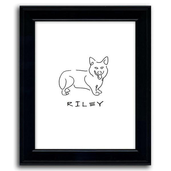 Personalized dog line drawing of a corgi with a white background and a black frame - Personal-Prints
