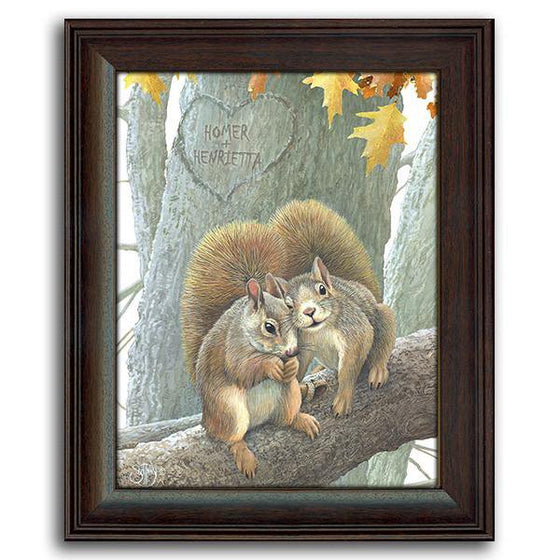 Personalized animal art print of two squirrel sitting on a tree branch - Personal-Prints