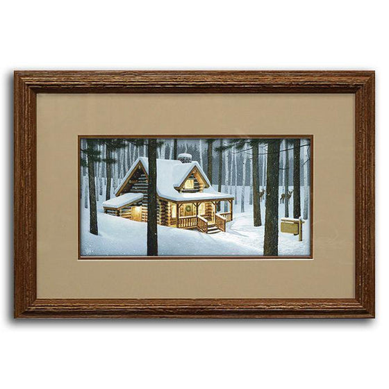 Original framed art painting of a cabin in the woods covered in snow and your name on a sign - Personal-Prints
