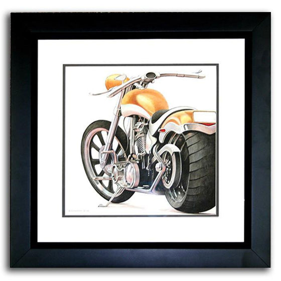 Original, personalized sports print of a chopper with orange detail and your name - Personal-Prints