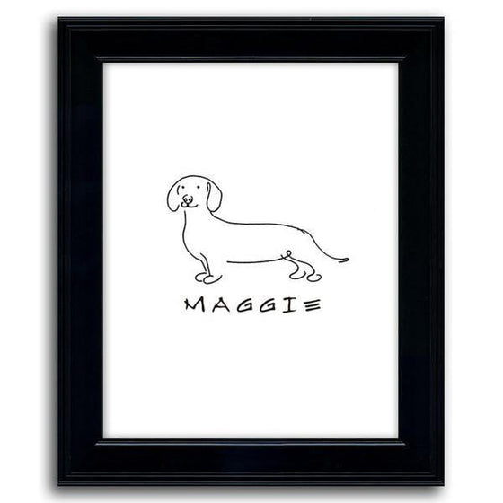 Dog line drawing of a dachshund with the pet's name below the drawing - Personal-Prints