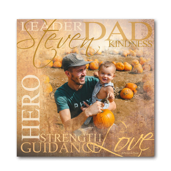Personalized Dad Your Photo To Art Print With Dad's Name Mounted to Wood Block