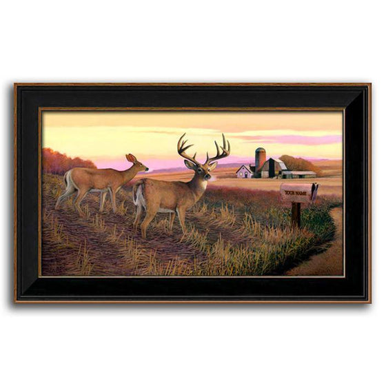Personalized whitetail deer painting with two deer and a farmhouse in the background - Personal-Prints