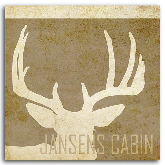 Personalized whitetail deer painting of silhouetted deer antlers and your name at the bottom - Personal-Prints
