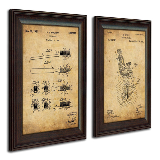 Framed patent art of the original patent for a tooth brush and dentist's chair - Personal-Prints