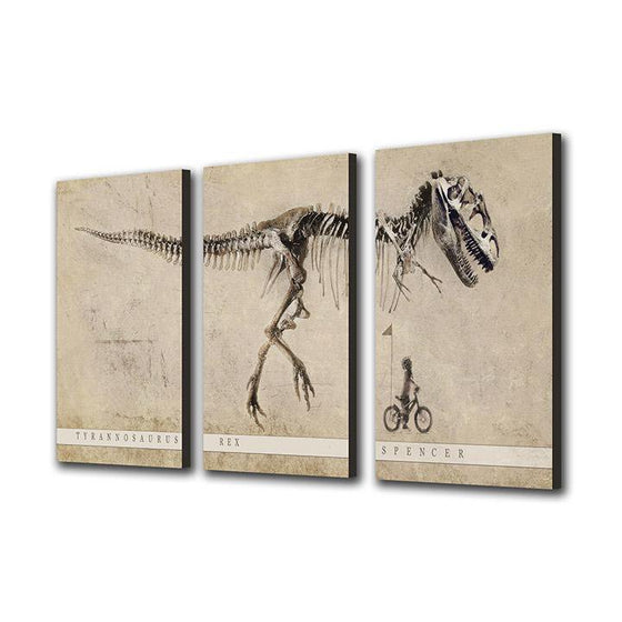 Personalized art of a Child riding bike and looking up at T-rex- triptych