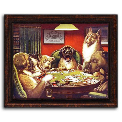 Dogs Playing Poker - Framed Canvas