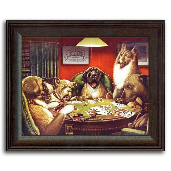 Framed art painting classic by C.M. Coolidge of dogs playing poker - Framed Behind Glass