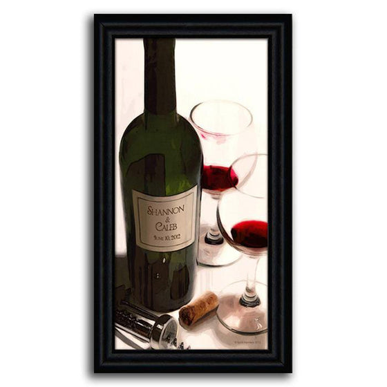 Wine canvas art with two wine glasses and your name on the wine bottle - Personal-Prints