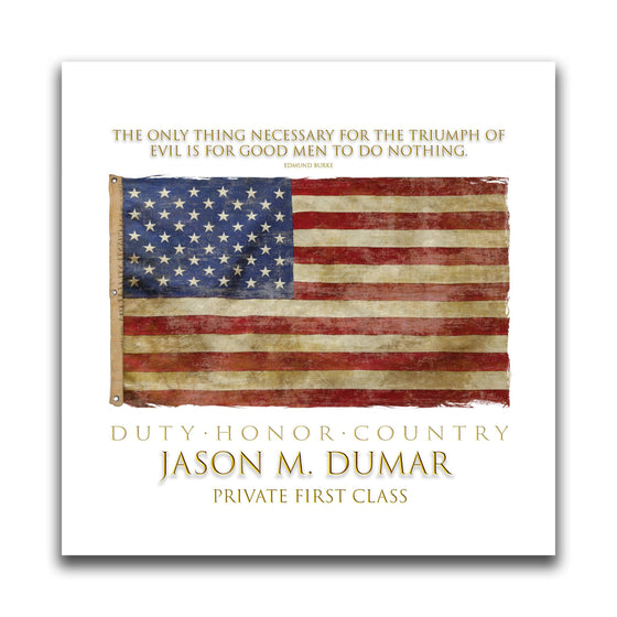American wall art with the flag, a quote at the top, and your name and rank at the bottom - Personal-Prints