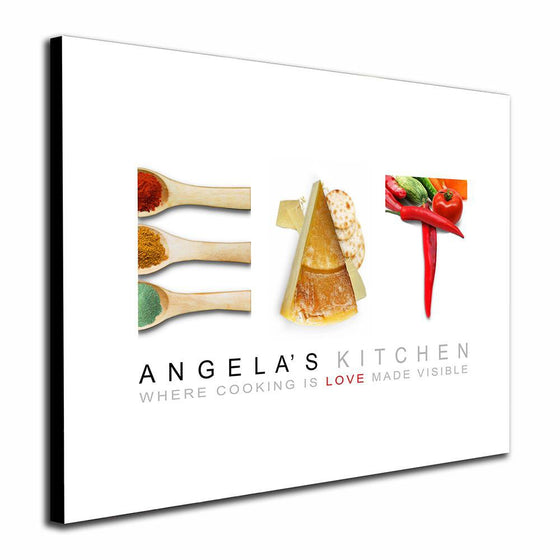 Kitchen culinary wall canvas with images of food to spell the word EAT on a white background - Personal-Prints