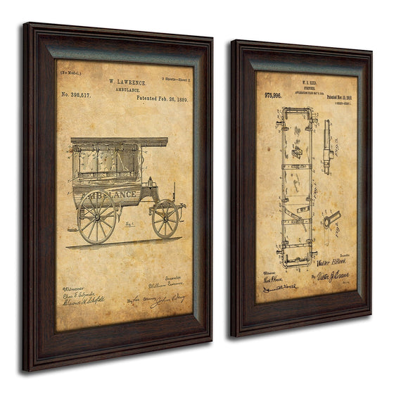 Patent art prints created from the original patent art for an ambulance and stretcher - Personal-Prints