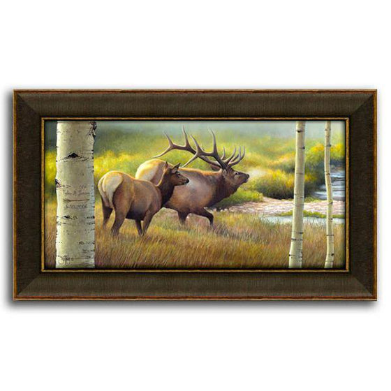 Nature wall decor of two elk in a green field and aspen trees - Personal-Prints