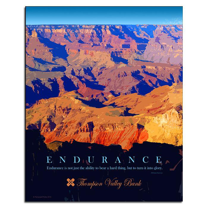 motivational artwork featuring an image of the grand canyon and the word endurance personal