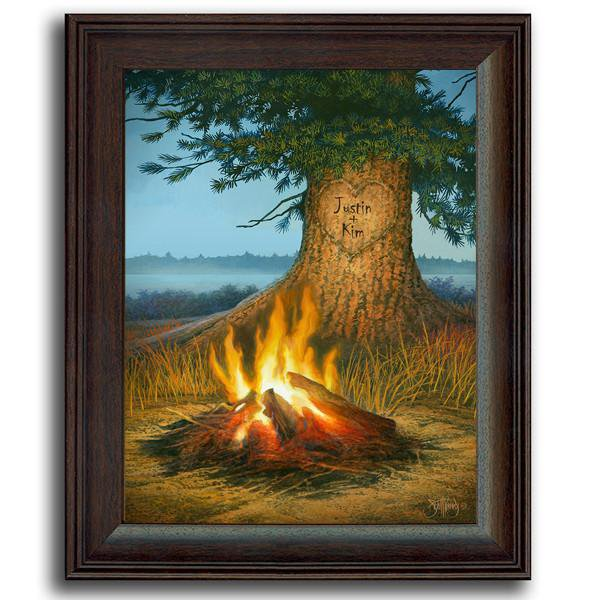 Nature wall decor of a campfire and a tree with your names carved into it - Personal-Prints