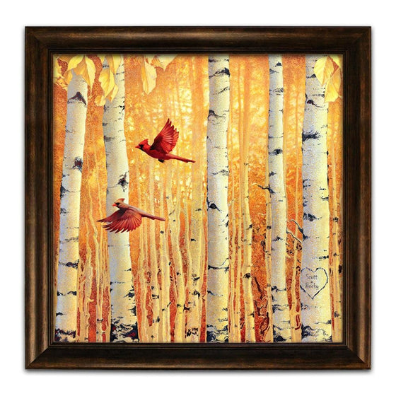 Aspen tree art with two cardinals flying in front of a forest of yellow aspen trees - Personal-Prints