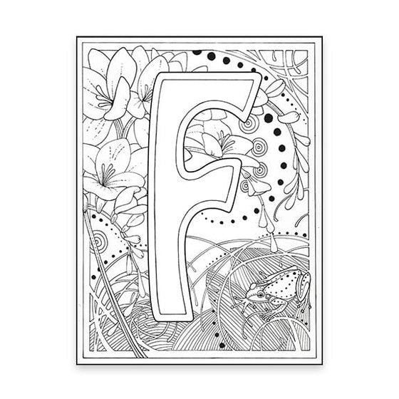 F Monogram Coloring Page