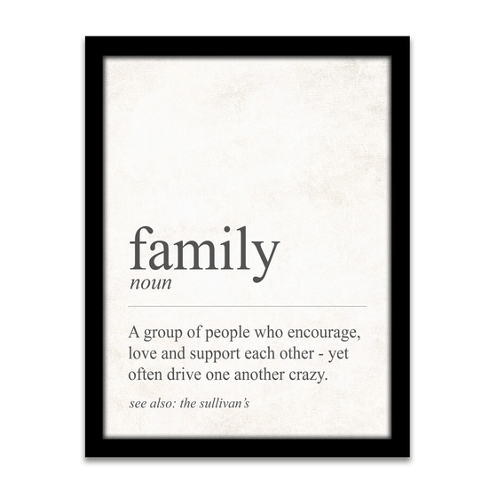 The definition of Family - Fun Personalized Gift for the Family from Personal Prints