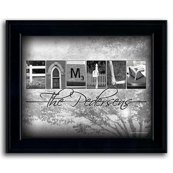 Personalized name art using photographs from around the house to spell the word FAMILY - Personal-Prints