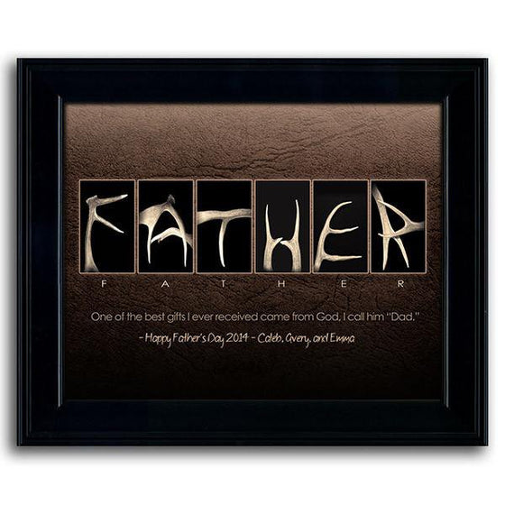 Creative Father's Day gift using antlers to spell the word FATHER - Personal-Prints