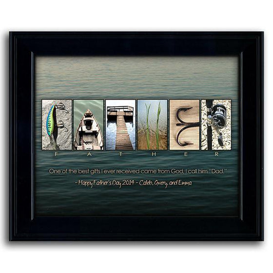 Fish art print with a water background and letters using fishing-themed images to spell the word FATHER - Personal-Prints