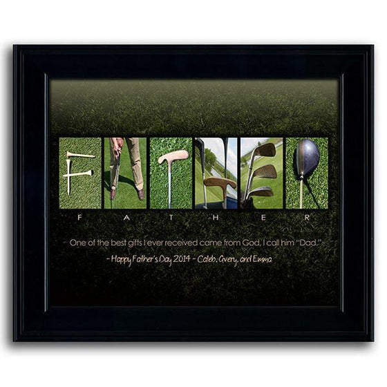 Creative Father's Day gift using golf-themed photographs to spell the word FATHER - Personal-Prints