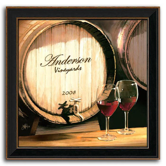 Personalized art of a wine barrel with your name on it and two glasses of wine - Personal-Prints