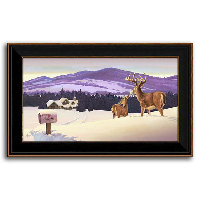 Framed art painting of a winter scene with two whitetail deer looking at a house in the background - Personal-Prints