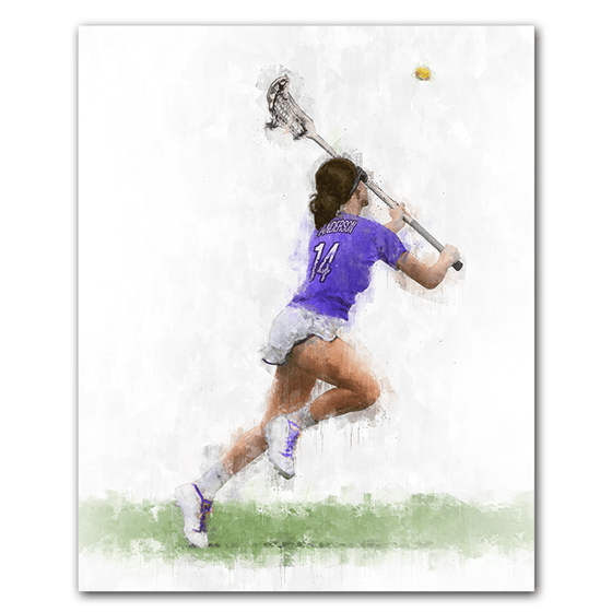 Personalized Sports Artwork - Women's Lacrosse personalized gift