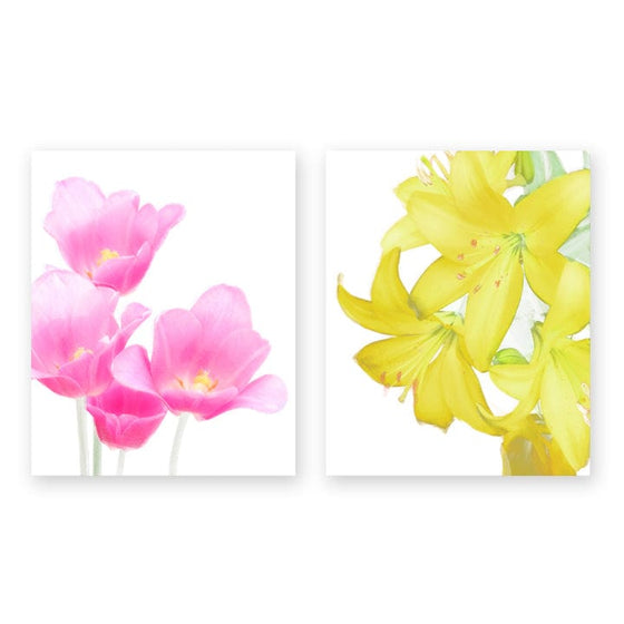 Floral Art Print set featuring pink Tulips and Yellow Lilies