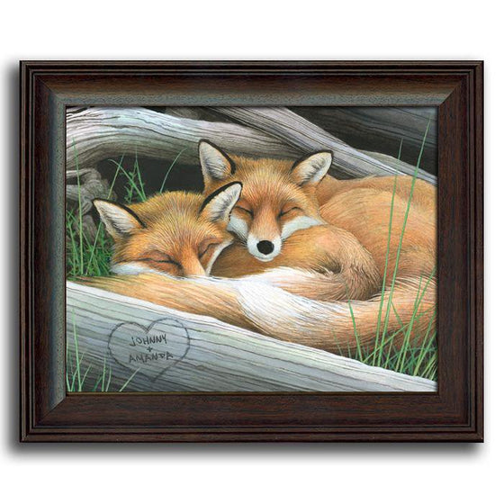 Nature wall decor with two sleeping foxes and a tree with your names carved into it - Personal-Prints
