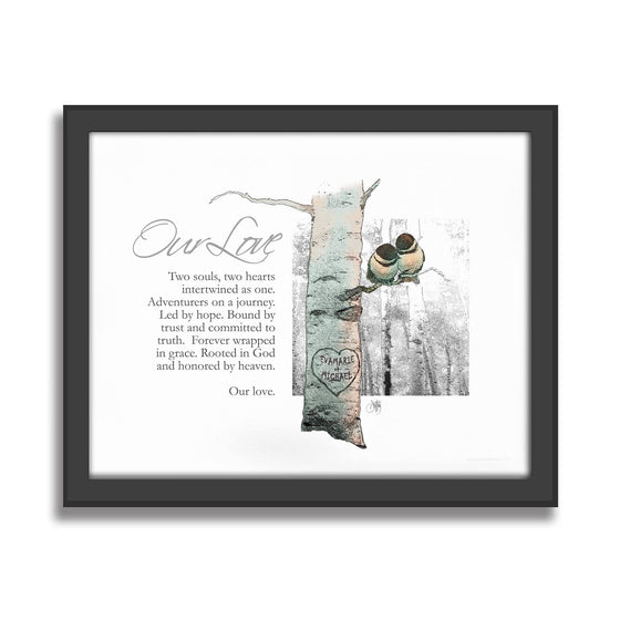 Personalized romantic gift Chickadee Love - Art on Canvas