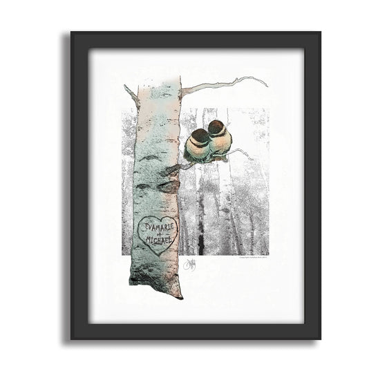 Chickadee Love Personalized nature canvas art
